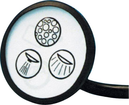 Кнопка электронного управления с тремя символами струя-воздух-свет, диaм. 52 мм, белая