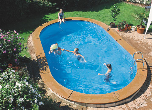 Бассейн сборный овальный 4,90 x 3,00 m, h= 1,20 m, толщина пленки 0,6 mm синий