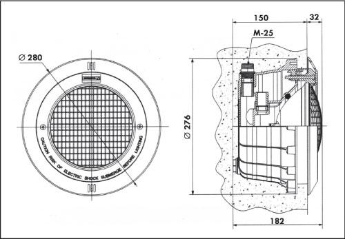 Фонарь Standard, 300 Вт х 12 В, кругляя рамка из нерж. стали, корпус из пластика, кабель 3 м