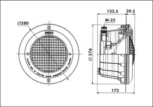 Фонарь Standard, 300 Вт х 12 В, кругляя рамка из нерж. стали, корпус из пластика, кабель 3 м, фланец./уплотнение