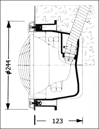 Фонарь SSL, 300 Вт х 12 В, круглая рамка из пластика, кабель 1,5 м