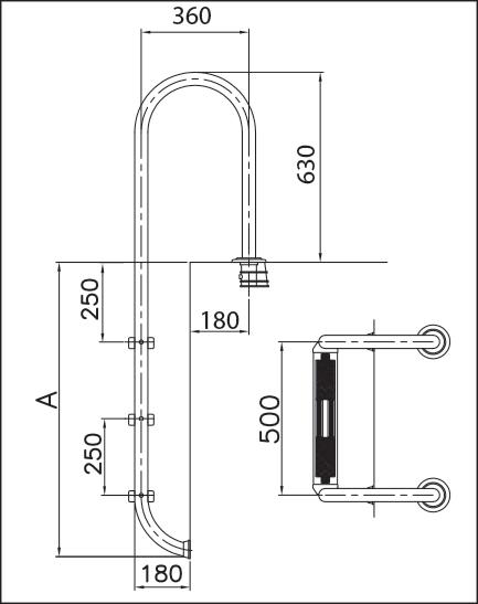 Лестница  1 (для частн. бассейна), нерж. сталь V2A, 2 ступени с противоскользящими накладками