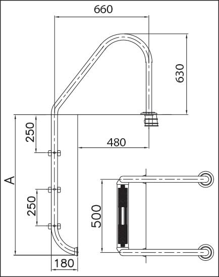 Лестница LUXUS 1 (для частн. бассейна) нерж. сталь V2A, 5 ступеней с противоскользящими накладками