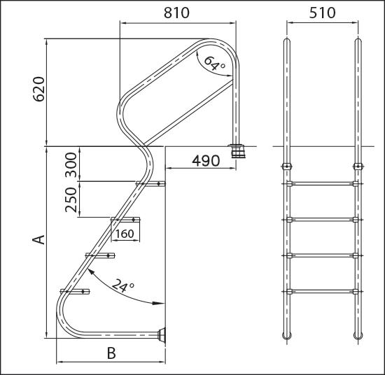 Лестница Marina, нерж. сталь V2A, 3 ступени с противоскользящими накладками