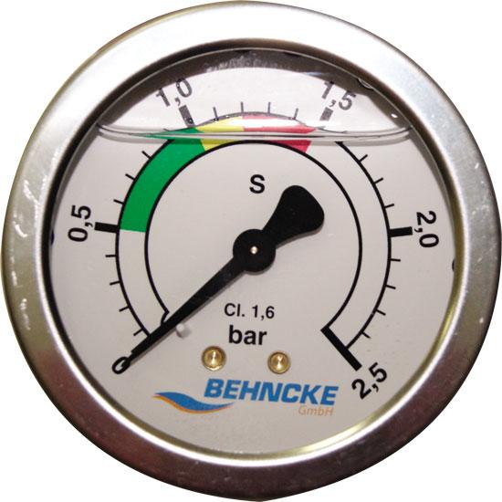 Манометр 1/8 для фильтровальной емкости Behncke 0-2,5 bar
