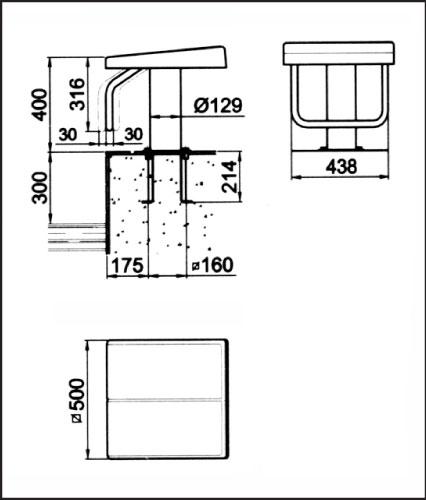 Стартовая тумба Стандарт 1, высота 0,4 м (27578), без анкерно-крепежной арматуры 54462
