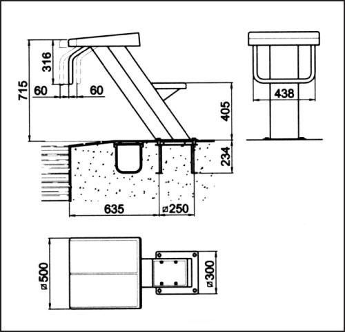 Стартовая тумба Люксус 2, высота 0,7 м, без анкерно-крепежной арматуры 4401060102