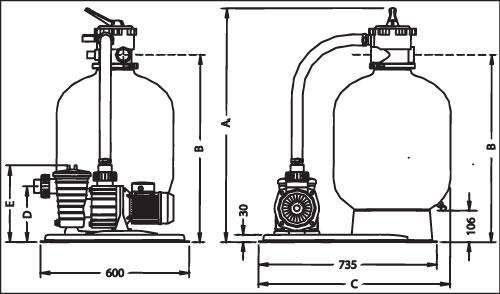 Фильтровальная установка  Azur 10, емкость диам. 475 мм, 0,65 кВт, 220 В, 9 м3/ч, клапан 6-поз.