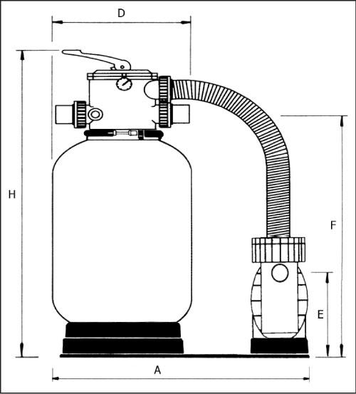 Фильтровальная установка Cristal-Flo  6, емкость диам. 430 мм, 0,55 кВт, 220 В, 7 м3/ч, клапан 6-поз.