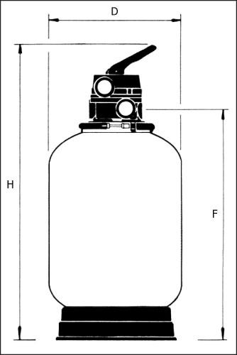 Фильтровальная емкость Cristal-Flo  5, диам. 380 мм, с поддном, с 6-ти поз. клапаном