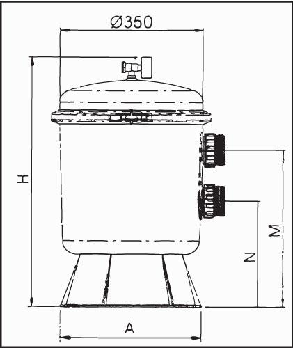 Фильтровальная емкость  Saphir  50, 350 мм, без клапана