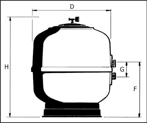 Фильтровальная емкость  Brillant  8, 450 мм, без поддона и клапана 1 1/2, цвет серый или красный