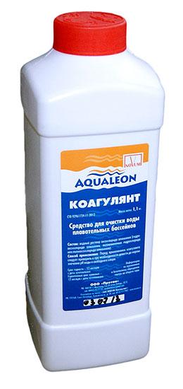 Коагулянт Aqualeon, 1,1 кг (1л), средство против мутности воды (упаковка 16 шт.)