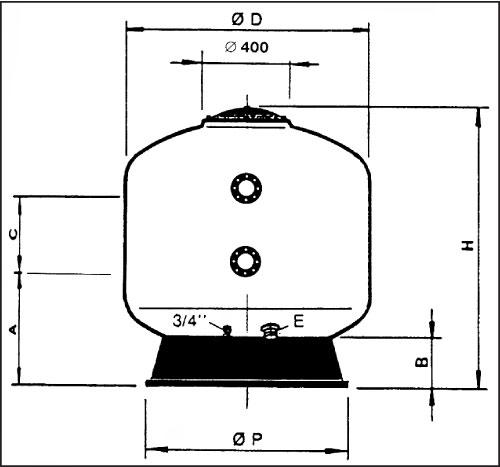 Фильтровальная емкость Praga 105, D=1050 мм, 20 м3/ч/м2,  4,0 бар