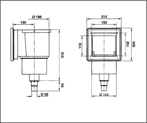 Скиммер EUROStandard, рамка из пластика, со скиммваком, фл. и уплотн., подкл. 11/2(06824)