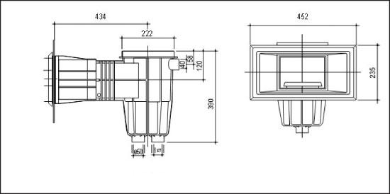 Скиммер Classic2, широкая рама, со скиммваком, фланцем и уплотнениями, резьба латунная