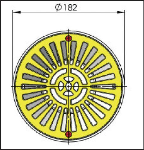 Донный сток ЕВРО, рамка из пластика диам. 210 мм, для бетона, подключение 2