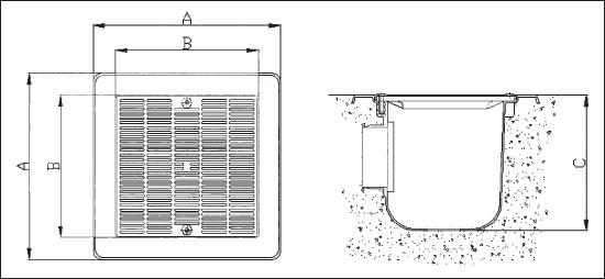 Донный сток ЕВРО, рамка из пластика 355х355 мм, с фланцем и уплотн., подключ. 110 мм