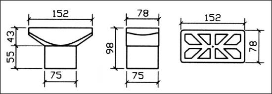 Сливной элемент ЕВРО, рамка из пластика 152 х 78 мм, подключ. 63 мм