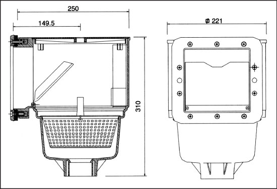V 10 Скиммер (для бетонного бассейна)