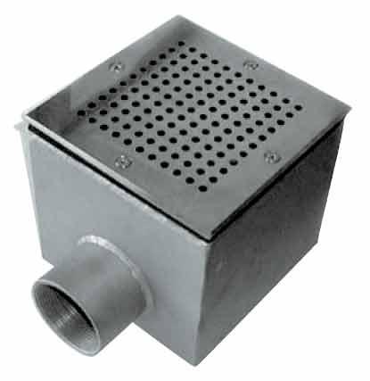 Донный сток А10 из нерж.стали 150 х 150 х 100 мм, с фланцем и уплотнением, подключение 2 внутр.