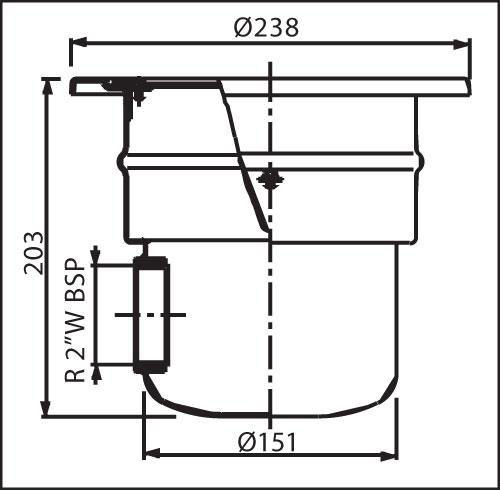 Донный сток круглый для пленочных бассейнов, подключение 2 нерж. ст. AISI-316  D 238 мм