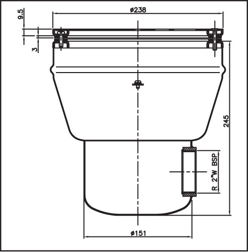 Донный сток круглый для бетонных бассейнов, нерж. сталь