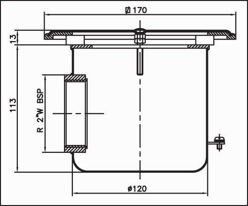 Донный сток квадратный 160 х 160 мм для бетонных бассейнов из нерж. сталь