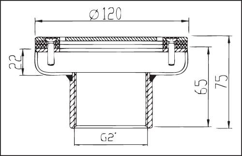 Дюза донная из нерж. стали с наружн. резьбой 2′, плитка, диам. 120 мм