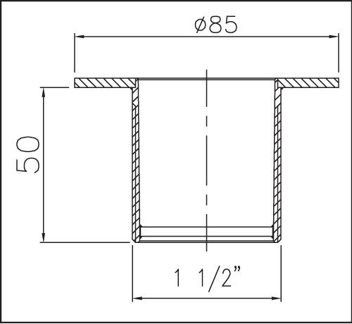 Дюза для подключения пылесоса из нерж. стали, резьба 1 1/2 , длина 50 мм