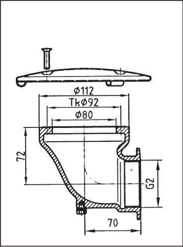 Донный сток из бронзы с дек. крышкой 168 мм из нерж. стали, угловой