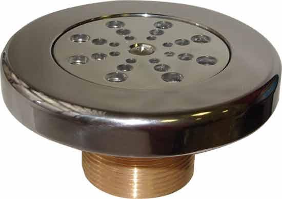 Дюза решетка из никелированной бронзы для бетоного бассейна, 1 1/2 х 40 мм (отверстия круглые), поток регулируется