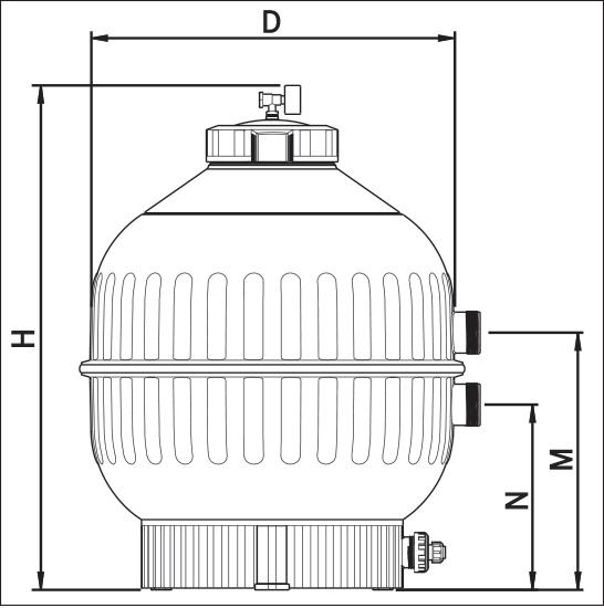 Фильтровальная емкость Cantabric 500 мм для бокового клапана 1 1/2, БЕЗ клапана