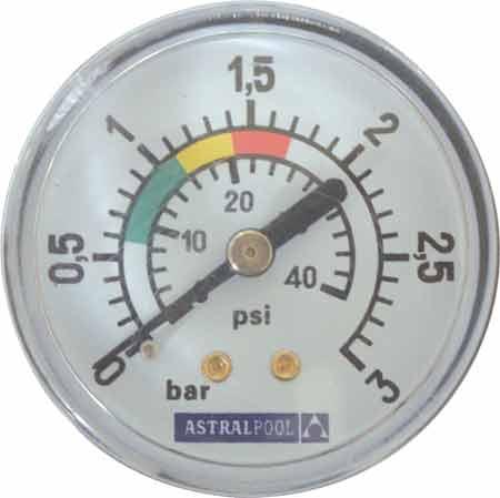 Манометр 1/8, 3 бар, 50 мм, для фильтровальных емкостей Saphir, Brillant