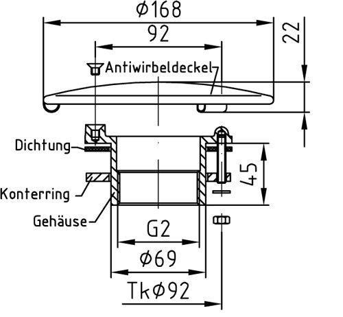 прямой выход и антивихревая крышка O 168 мм