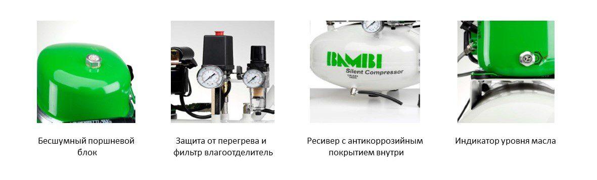1 Kompressor Bambi Besshumnij Maslyanij Komplekt S Kolesikami 034 Kvt Obem Resivera 15 L 40 Db Bb15