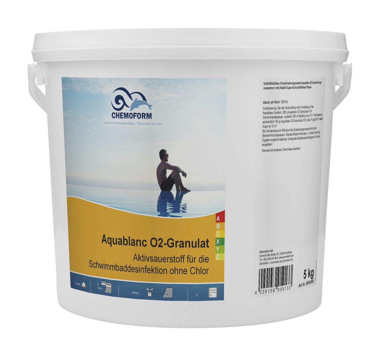 Активный кислород в гранулах для дезинфекции воды в бассейне Аквабланк О2, 10 кг