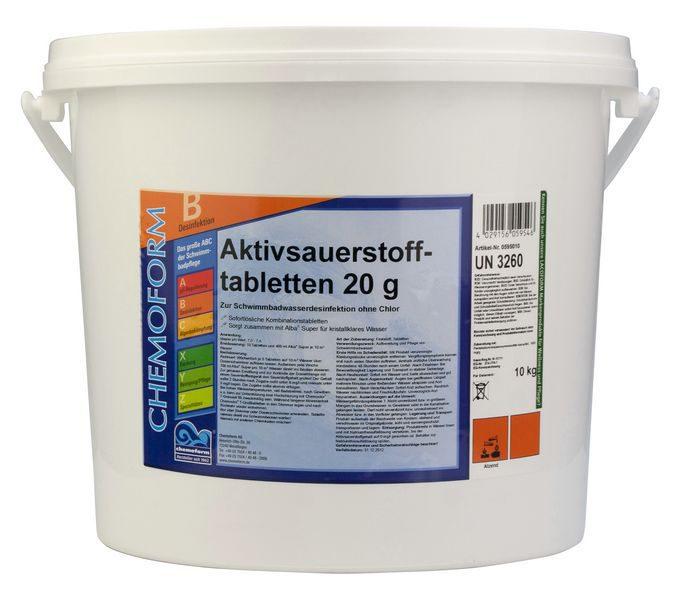 Активный кислород в таблетках для дезинфекции воды в бассейнах Аквабланк О2 (20 г), 10 кг