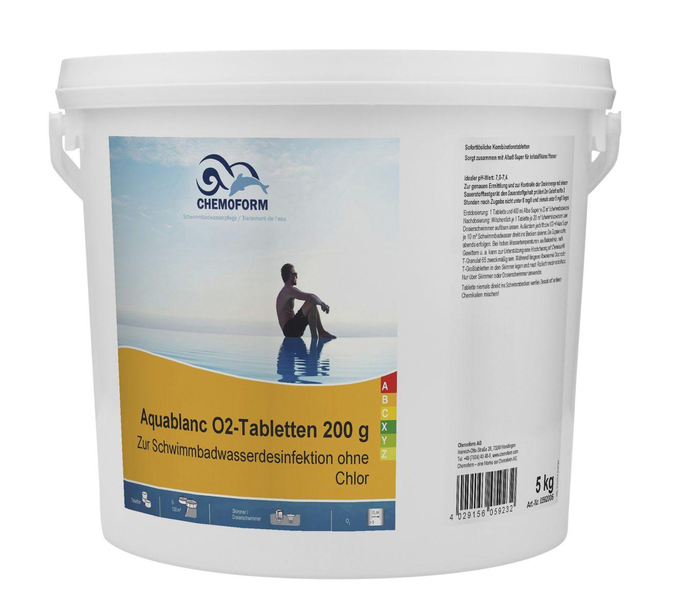 Активный кислород в таблетках для дезинфекции воды в бассейнах Аквабланк О2 (200 г), 5 кг