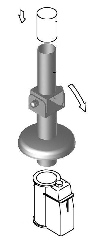 Анкер 27 для перекидной лестницы, с фиксатором ?40 мм, (для монтажа в бетон), AISI 316