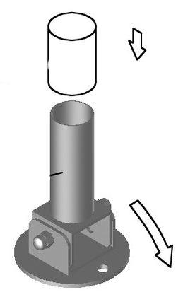Анкер 27 для перекидной лестницы, с фиксатором ?40 мм, (фланцевое крепление), AISI 316