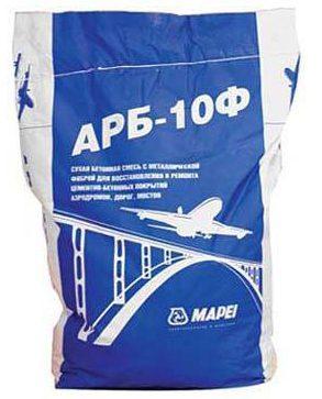 Быстросхватывающаяся смесь с наполнителем 10мм и стальной фиброй для ремонта бетона ARB 10F, 25 кг