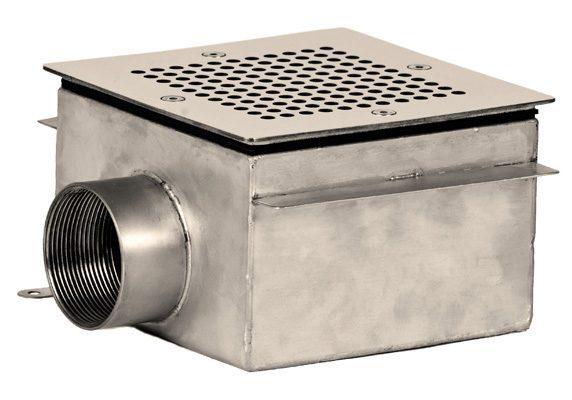 Донный слив квадратный, плитка, 150×150х100, внутр. резьба G2