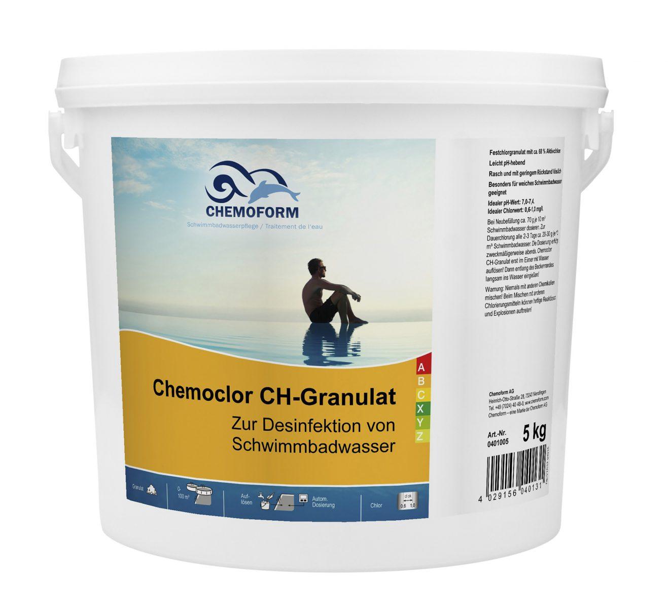 Хлор гранулированный для дезинфекции воды в бассейне и питьевой воды Кемохлор СН, 5 кг
