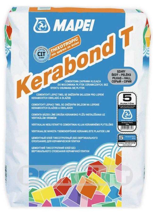 KERABOND T, серый тиксотропный цементный клей рос. пр-ва д/плитки, 25 кг