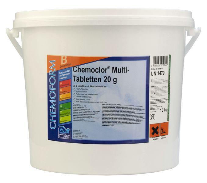 Комплексное средство для дезинфекции бассейна медленный хлор в таблетках (20 г), 10 кг