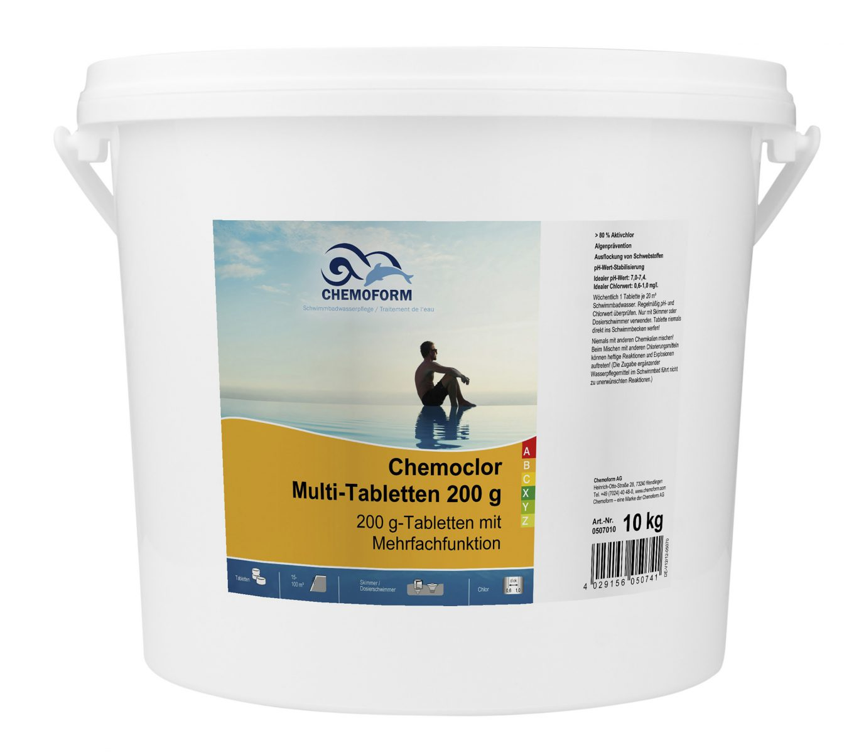Комплексное средство для дезинфекции бассейна медленный хлор в таблетках (200 г), 10 кг