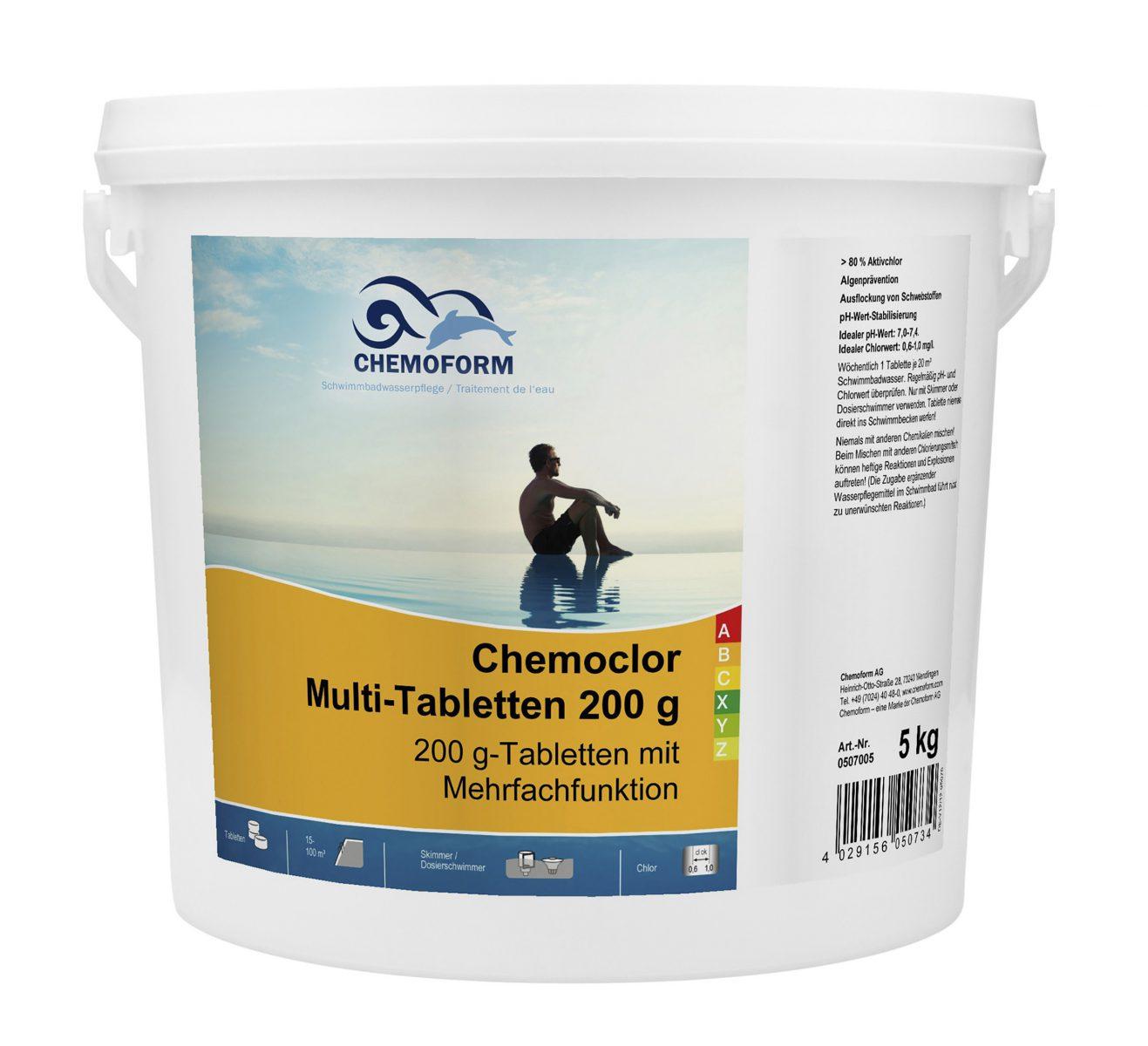 Комплексное средство для дезинфекции бассейна медленный хлор в таблетках (200 г), 5 кг