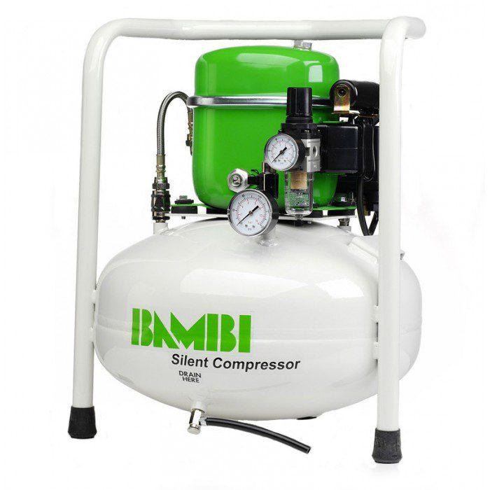 Компрессор Bambi бесшумный масляный, 0,34 кВт, объем ресивера 24 л, 40 дБ