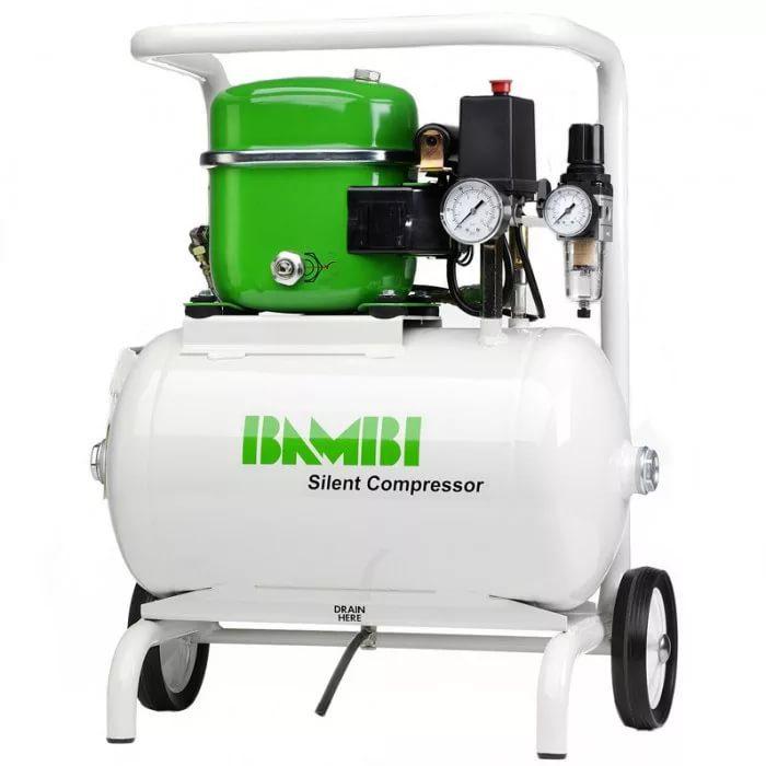 Компрессор Bambi бесшумный масляный (комплект с колесиками), 0,34 кВт, объем ресивера 15 л, 40 дБ
